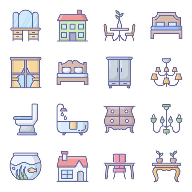 Gebäude dekor flache icons pack Premium Vektoren