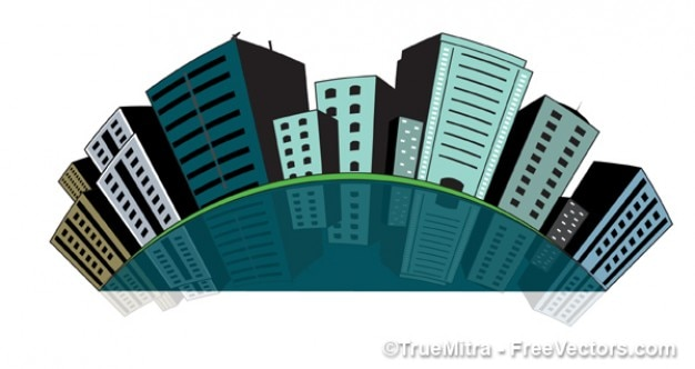 Gebäude der stadt push pins Kostenlosen Vektoren