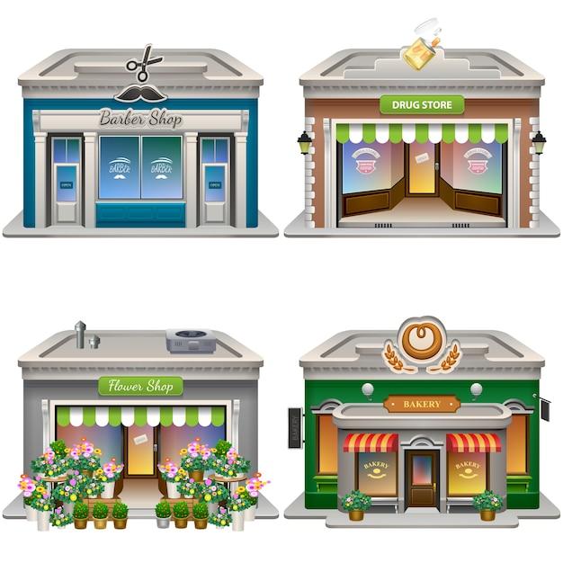 Gebäude. friseurladen, drogerie, blumenladen, bäckerei. . Premium Vektoren