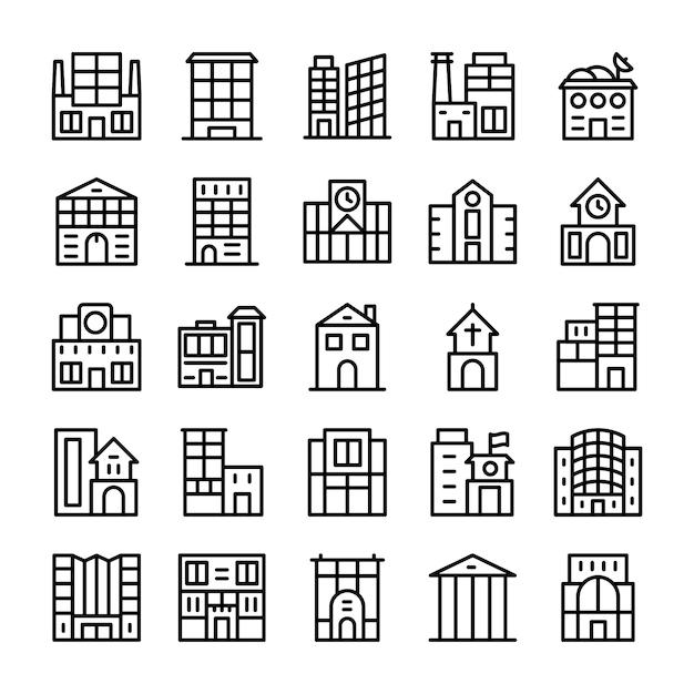 Gebäude, grenzstein-linie ikonen Premium Vektoren