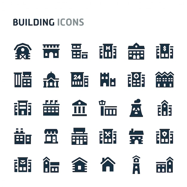 Gebäude-icon-set. fillio black icon-serie. Premium Vektoren