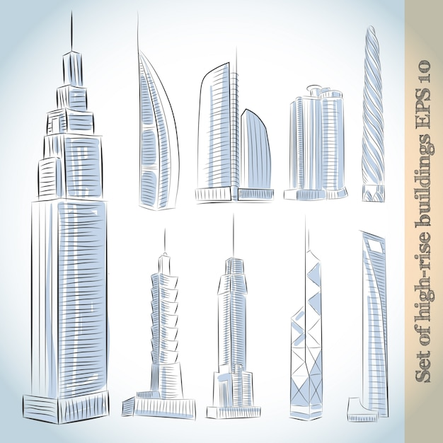 Gebäude icons set von modernen wolkenkratzern Premium Vektoren