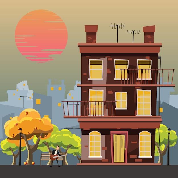 Gebäude in der gartenvektorillustration Premium Vektoren