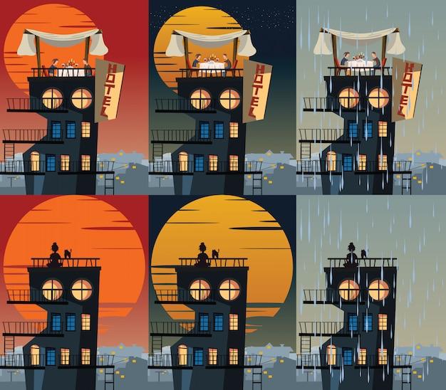 Gebäude in der unterschiedlichen zeitvektorillustration Premium Vektoren