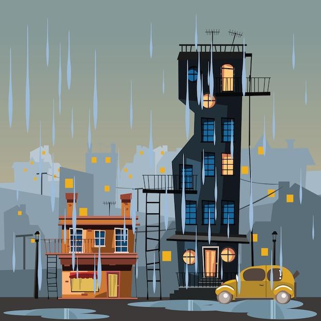 Gebäude in regnerischen tag vektor-illustration Premium Vektoren