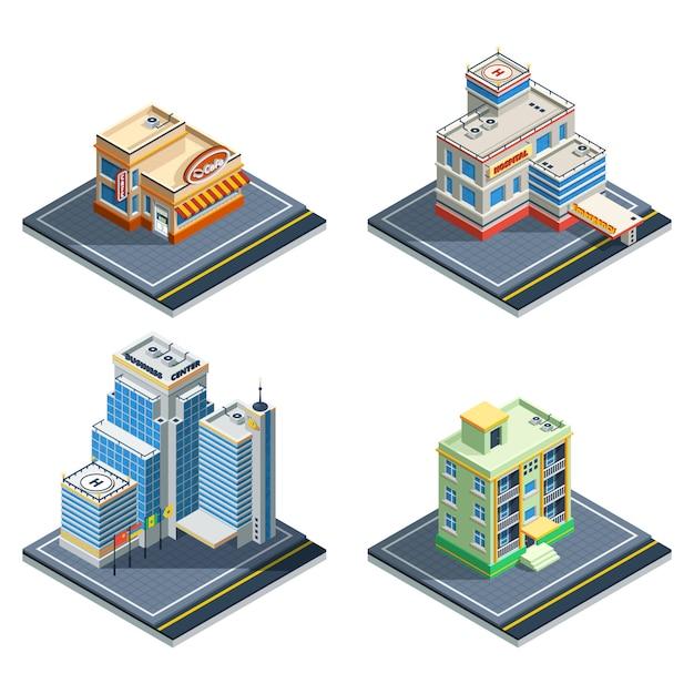 Gebäude isometrische icon set Kostenlosen Vektoren