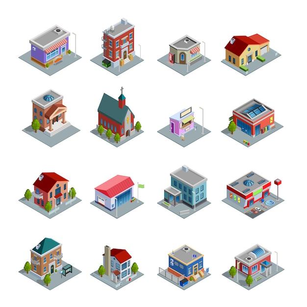 Gebäude isometrische icons set Kostenlosen Vektoren