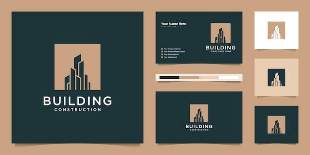Gebäude logo design mit modernem konzept. logo-design und visitenkarte Premium Vektoren