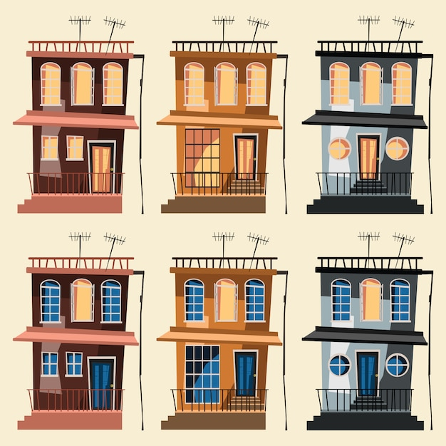 Gebäude set vektor-illustration Premium Vektoren