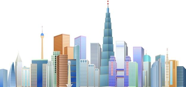 Gebäude und ikonizitätsturm Premium Vektoren