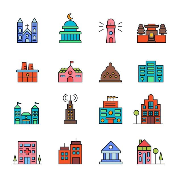 Gebäude und immobilien logo abbildung isoliert Premium Vektoren