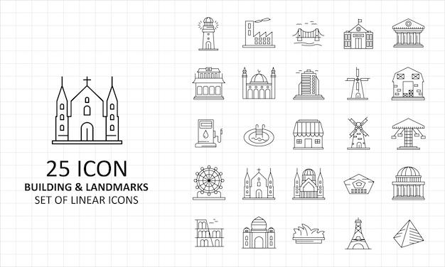 Gebäude und markstein-ikonen-blatt-pixel perfekt Premium Vektoren
