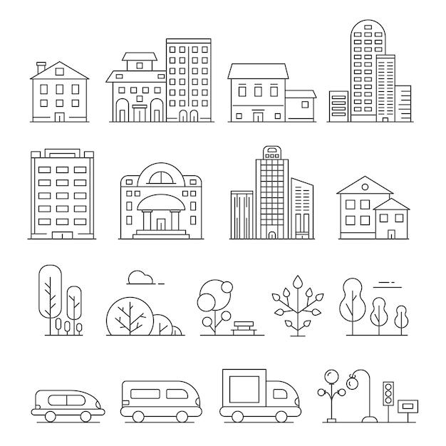 Gebäude und städtische objekte. lineare bilder von autos, häusern und städtischen bäumen Premium Vektoren