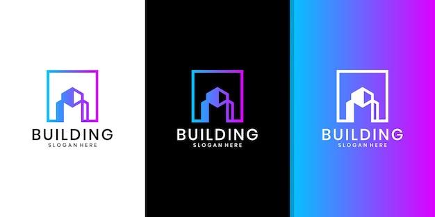 Gebäudearchitektur-logo, minimalistisches immobilienlogo, entwurfsvorlage des luxusgebäudelogos Premium Vektoren
