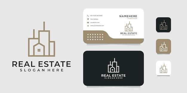 Gebäudearchitektur-logoentwurf mit visitenkartenschablone. Premium Vektoren