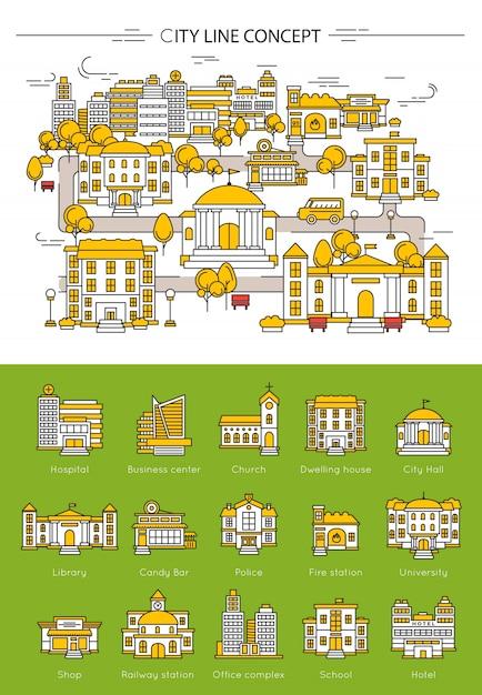 Gebäudelinienkonzept Kostenlosen Vektoren