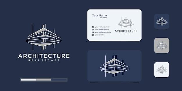 Gebäudelogo mit einzigartigem strichgrafikstil und visitenkarte Premium Vektoren