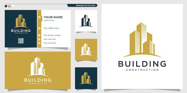 Gebäudelogo mit kreativem aussehen und visitenkartenentwurfsschablone Premium Vektoren