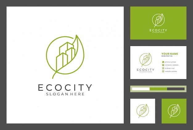 Gebäudelogo mit visitenkartenentwurfs-premiumvektor. logos können für immobilien, bauunternehmer, architektur, beratung, investitionen verwendet werden. Premium Vektoren