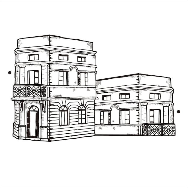 Gebäudeskizze Premium Vektoren