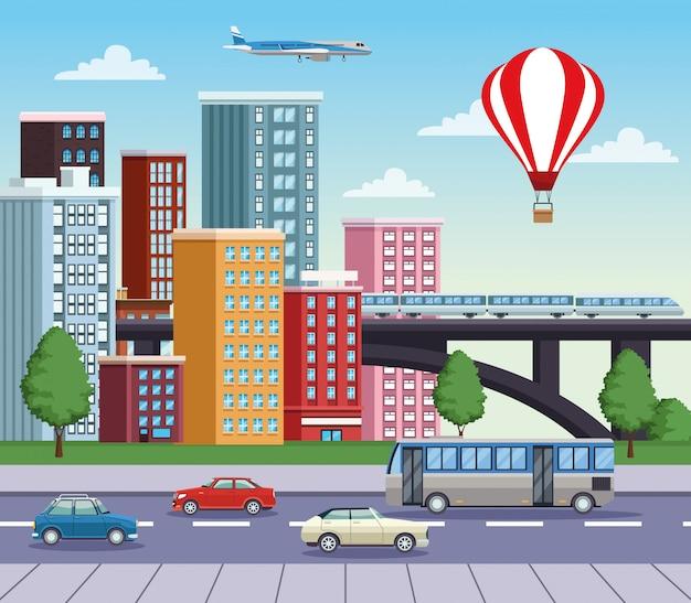 Gebäudestadtbild mit straße und transportmittel Premium Vektoren