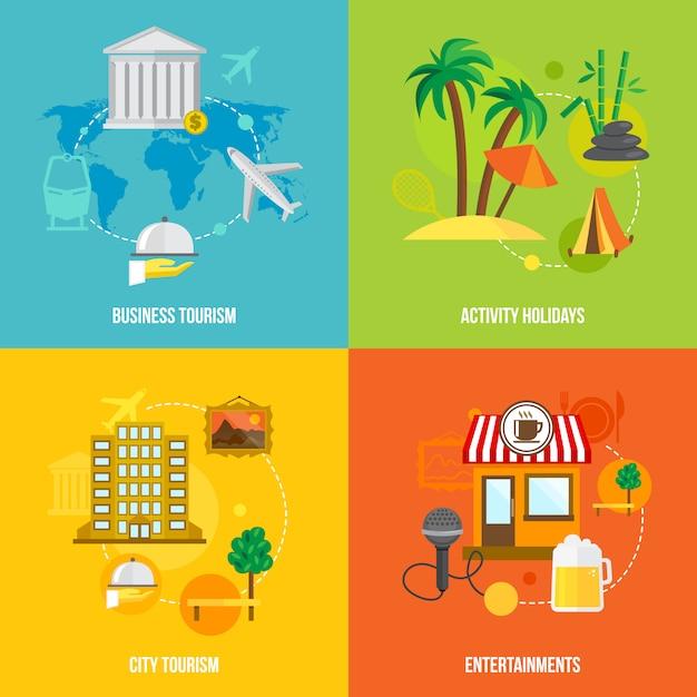 Gebäudetourismuskonzepte flach Kostenlosen Vektoren
