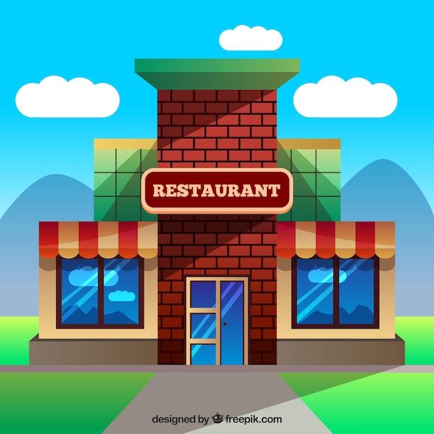 Geb ude restaurant in flache bauform download der for Meine wohnung click design download