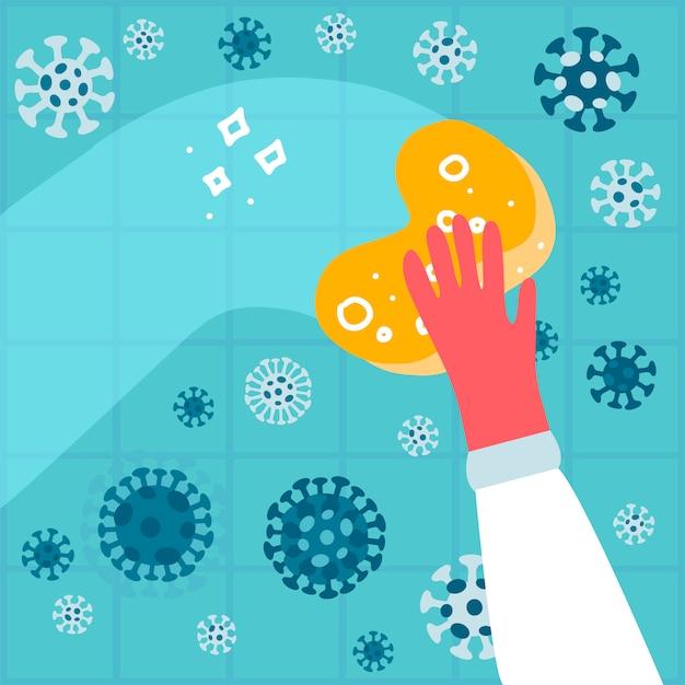 Geben sie einen gummihandschuh mit einem schwamm ab und waschen sie eine wand mit coronavirus, um die familie vor viren, keimen oder bakterien zu schützen. antibakterielle desinfektionsflüssigkeit. hausreinigung. flache illustration Premium Vektoren