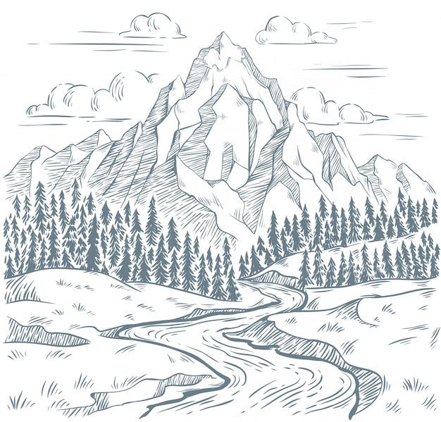 Gebirgsflussgravur. draußen reisen, gebirgsabenteuer und schlangenflüsse vintage handgezeichnete landschaftsillustration Premium Vektoren