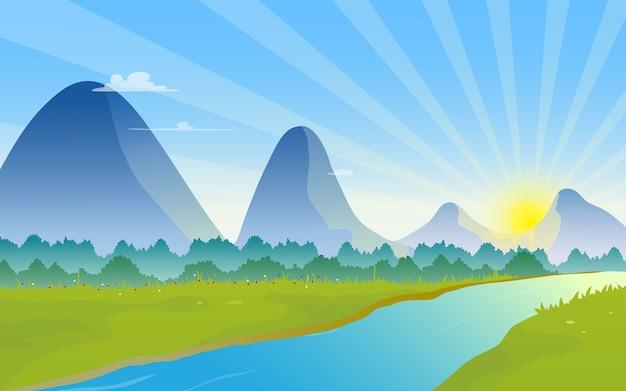 Gebirgslandschaft mit sonnenaufgang auf dem horizont. Premium Vektoren