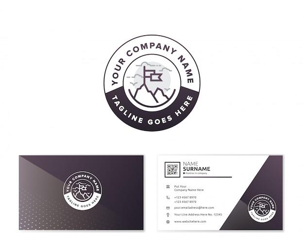 Gebirgslogo mit briefpapier-visitenkarte Premium Vektoren