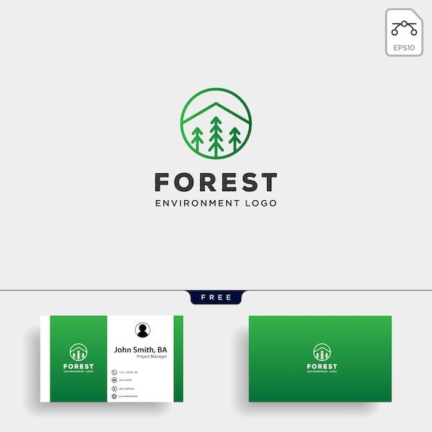 Gebirgswaldnaturausweislinie einfaches logo Premium Vektoren