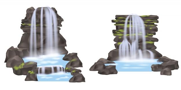 Gebirgswasserfall lokalisierter satz Premium Vektoren