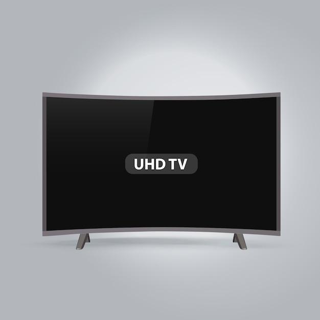 Gebogene intelligente reihe led uhd fernsehapparat getrennt auf grauem hintergrund Premium Vektoren