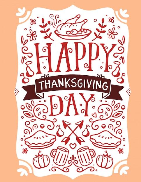 Gebratener truthahn, gemüse, blätter und text happy thanksgiving day auf orange Premium Vektoren