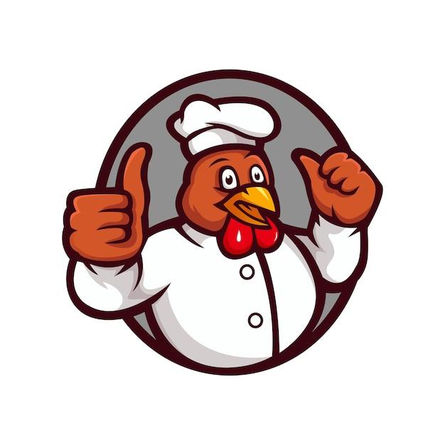 Gebratenes huhn restaurant maskottchen logo vorlage. hahn, der einen daumen hoch zeichentrickfigur gibt Premium Vektoren
