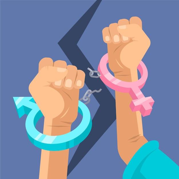 Gebrochene handschellen geschlechtsnormen konzept Kostenlosen Vektoren