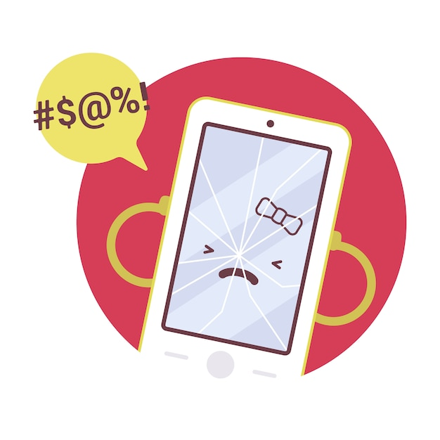 Gebrochenes wütendes mädchen smartpone Premium Vektoren