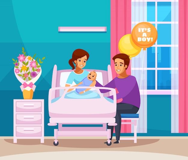 Geburt cartoon zusammensetzung Kostenlosen Vektoren