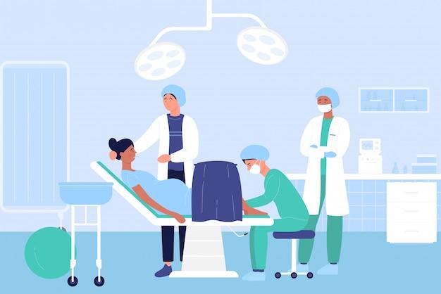 Geburt in der krankenhausillustration, karikaturarztfiguren, die schwangere patientin vor babygeburtshintergrund untersuchen Premium Vektoren