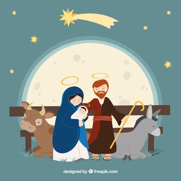 Geburt von Jesus mit Ochsen und Maultier Kostenlose Vektoren