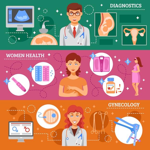 Geburtshilfe-banner gesetzt Kostenlosen Vektoren