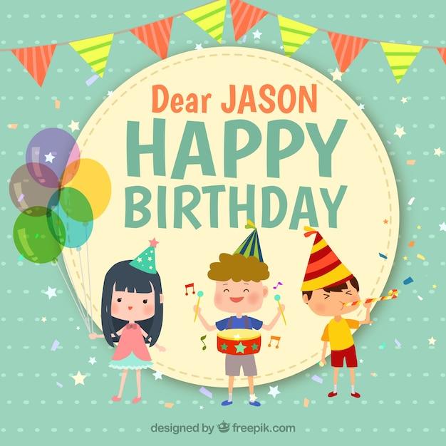 Geburtstag Hintergrund mit drei lächelnden Kinder Kostenlose Vektoren