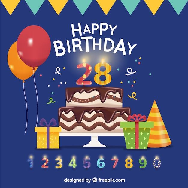 Geburtstag Hintergrund Mit Kuchen Und Anderen Elementen Download
