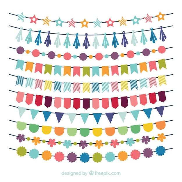 Geburtstag mehrfarbige Girlande Sammlung Kostenlose Vektoren