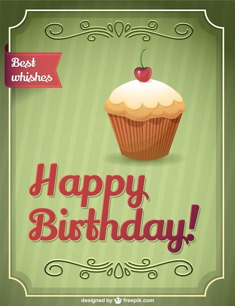 Geburtstag Retro Kuchen Download Der Kostenlosen Vektor