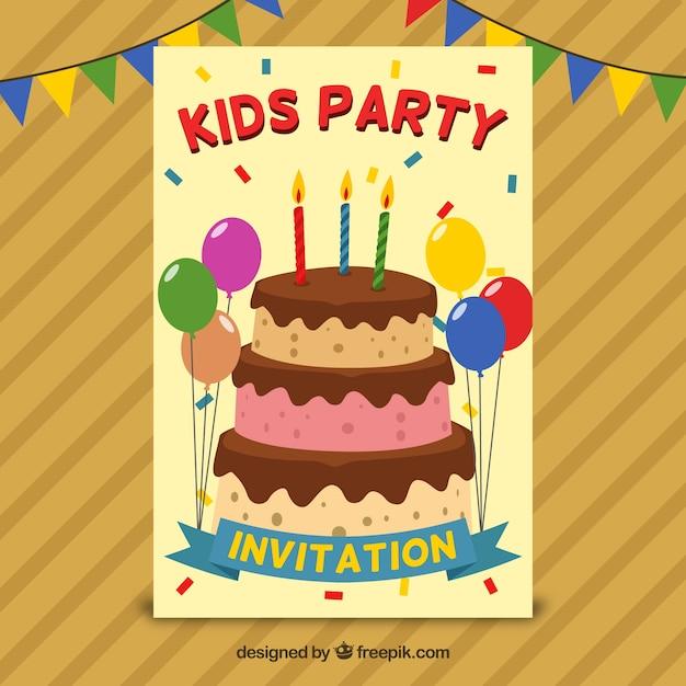 geburtstags-einladung mit kuchen und luftballons in flaches design, Einladungen