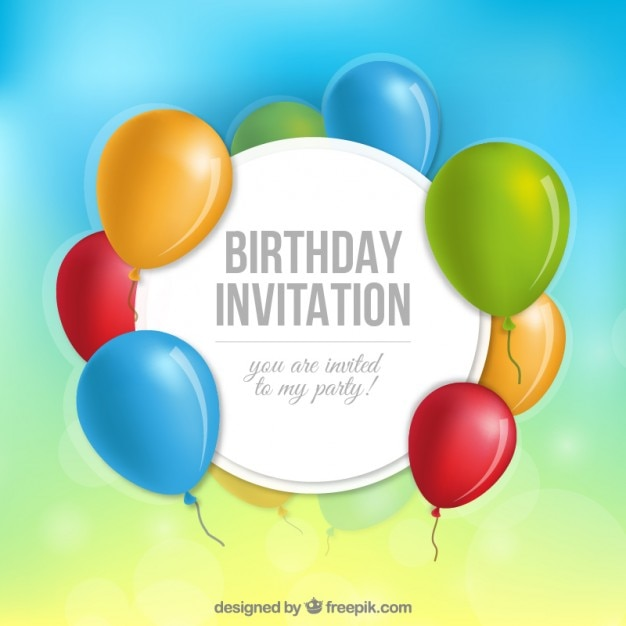 Geburtstags-Einladung mit Luftballons | Download der kostenlosen Vektor