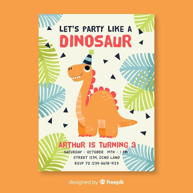 Geburtstags-einladungsschablone der kinder mit dinosaurier Kostenlosen Vektoren