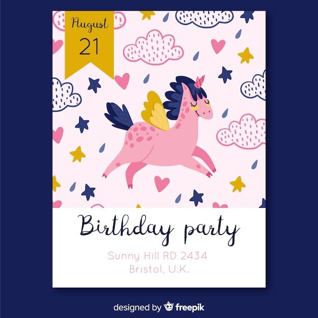 Geburtstags-einladungsschablone des einhorns hand gezeichnete Kostenlosen Vektoren